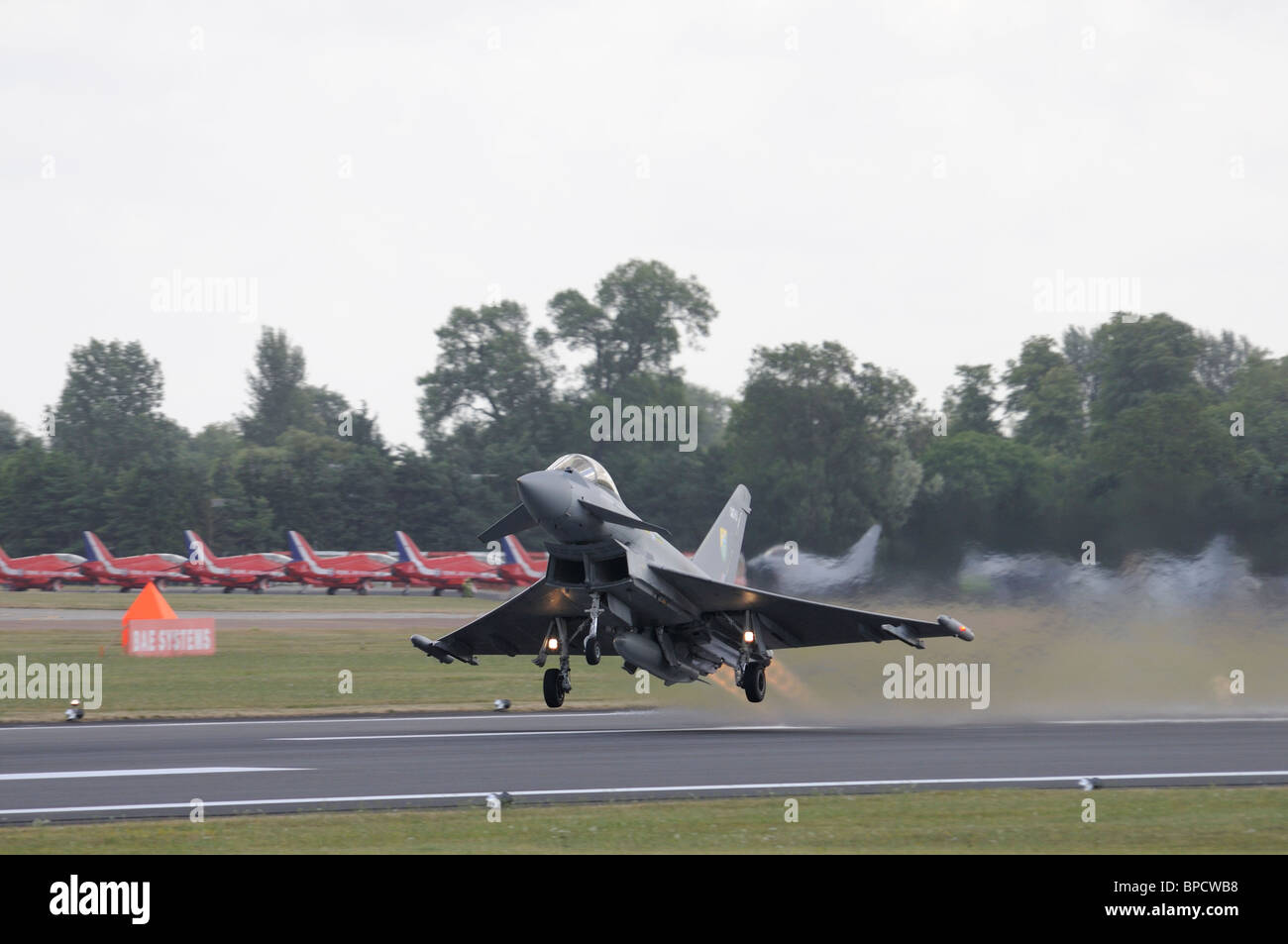 Eurofighter Typhoon F2 from Royal Air Force 29(R) Squadron RAF Coningsby takes off to rehearse its display at the Stock Photo