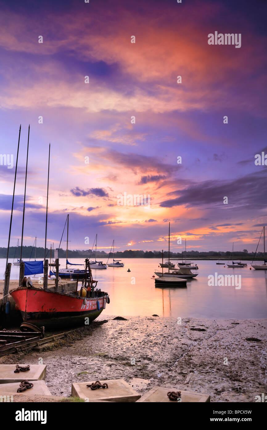 The Deben Estuary at dawn - Waldringfield, Suffolk, England - Stock Image