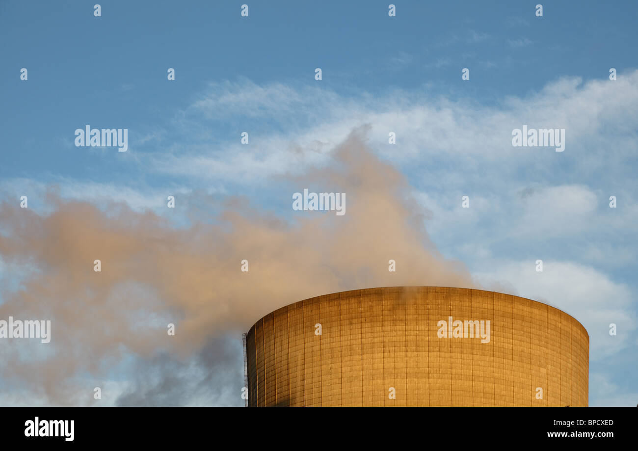 Cooling tower of a nuclear power plant - Stock Image