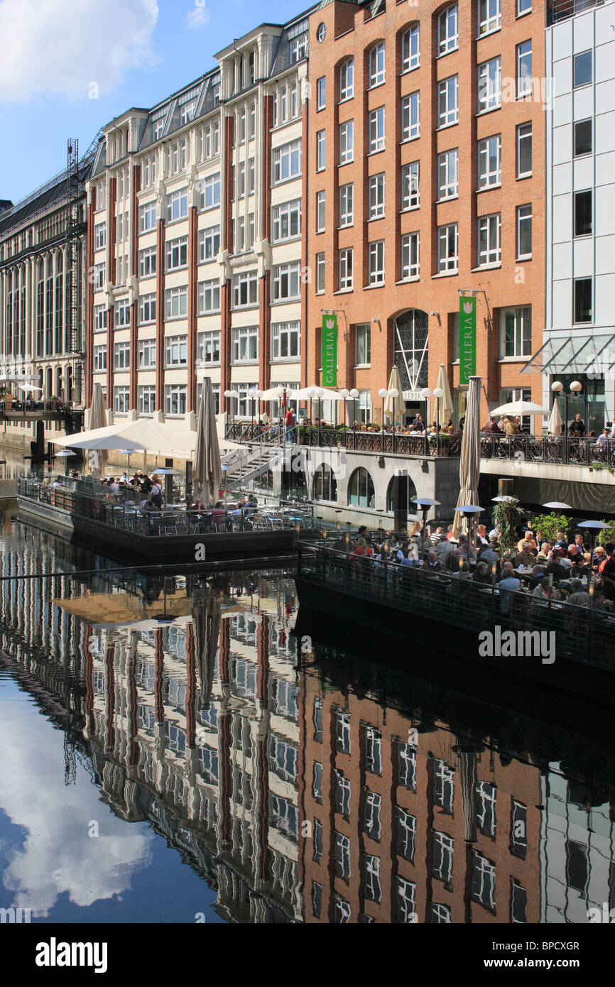 Buildings And Restaurants By A Canal Hamburg Germany Stock Photo