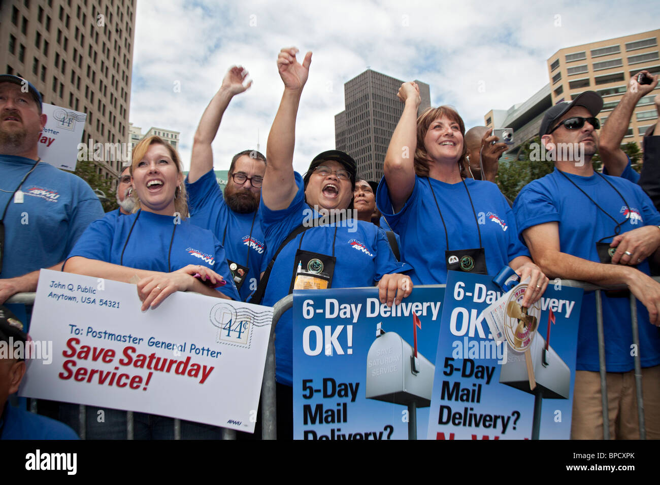 Postal Workers Rally To Save Six-Day Mail Delivery - Stock Image