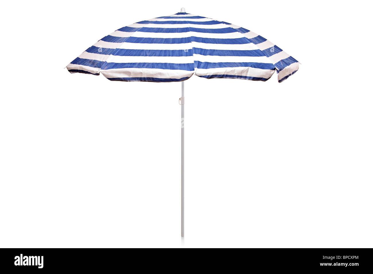 Blue and white striped umbrella - Stock Image