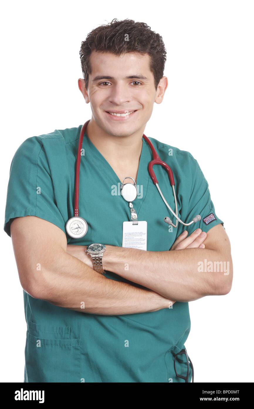 Friendly, smiling male nurse - Stock Image
