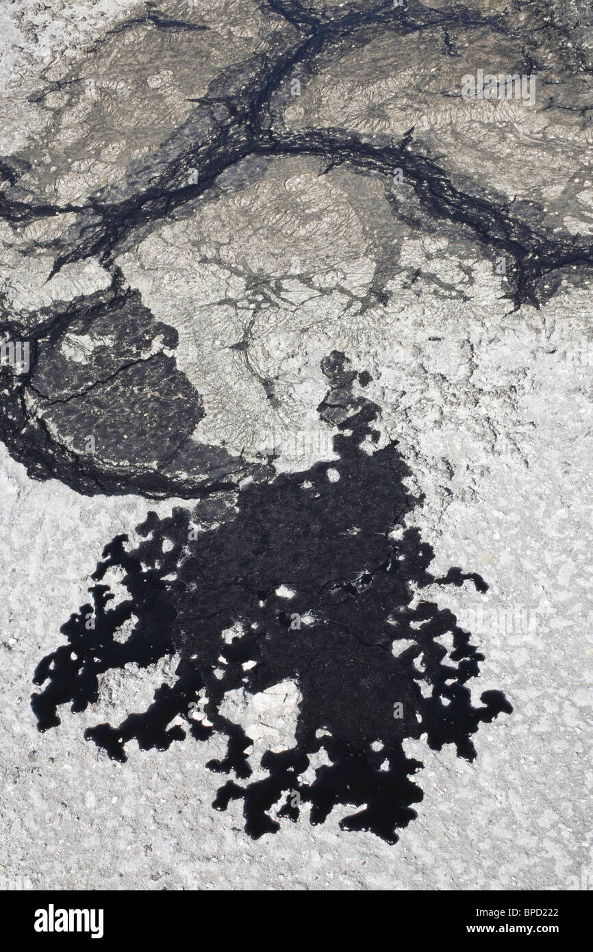 close-up of oil spill crude oozing out of beach sand - Stock Image