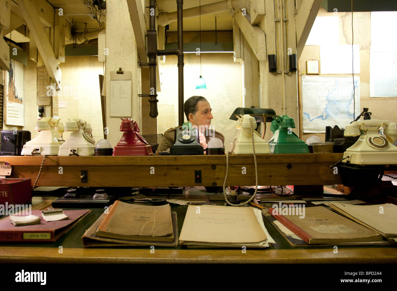 The Map Room - Churchill War Rooms (formally, Cabinet War Rooms) - Whitehall - London - Stock Image