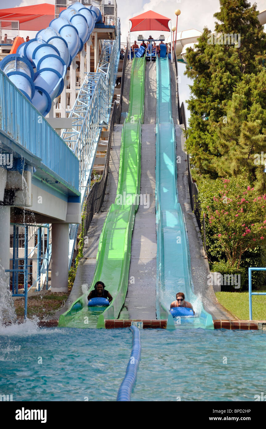 Water slide at Hurricane Harbor waterpark , Six Flags Over