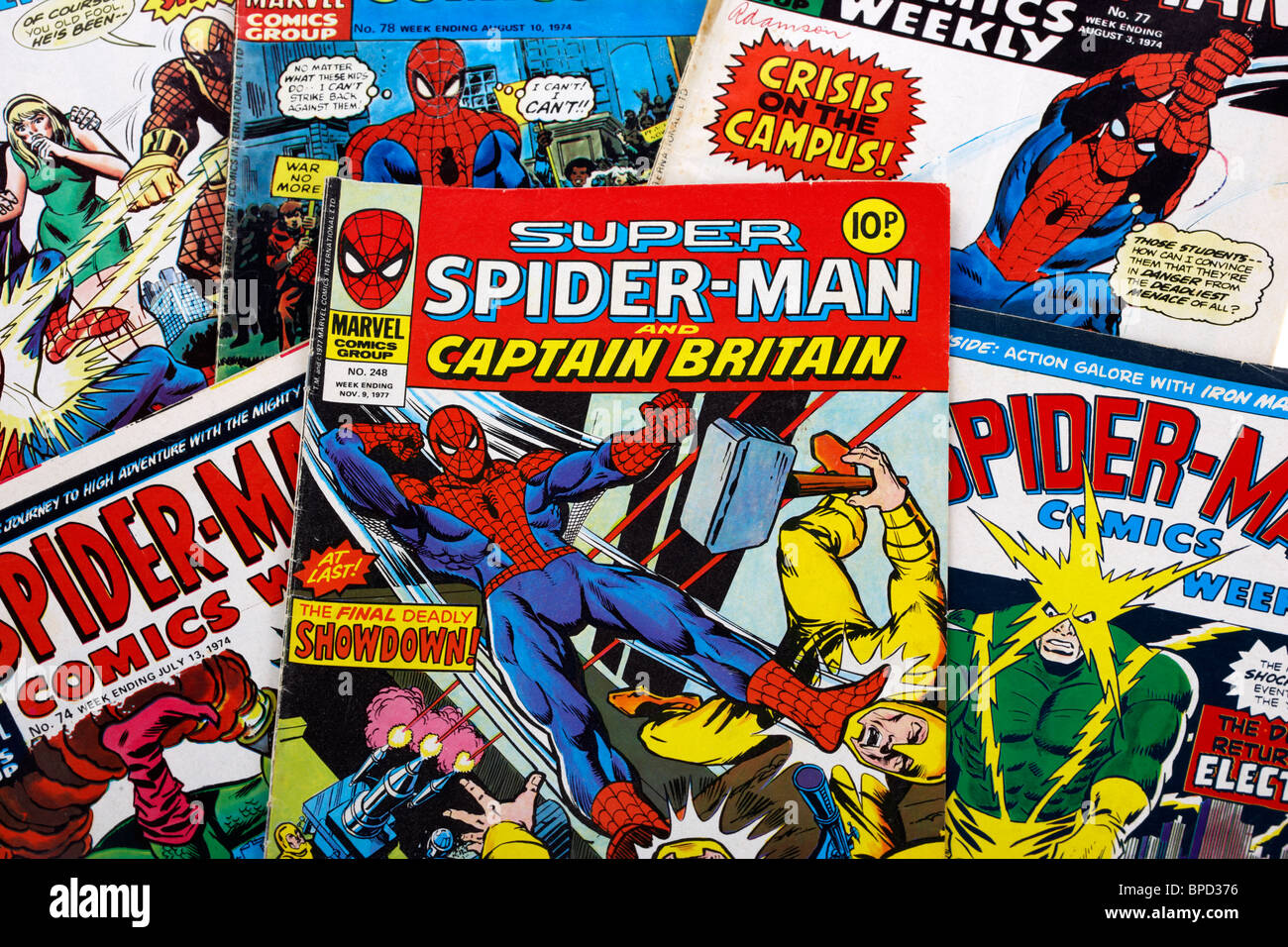spider-man and super spiderman marvel group comic books from the 1970s in the uk - Stock Image
