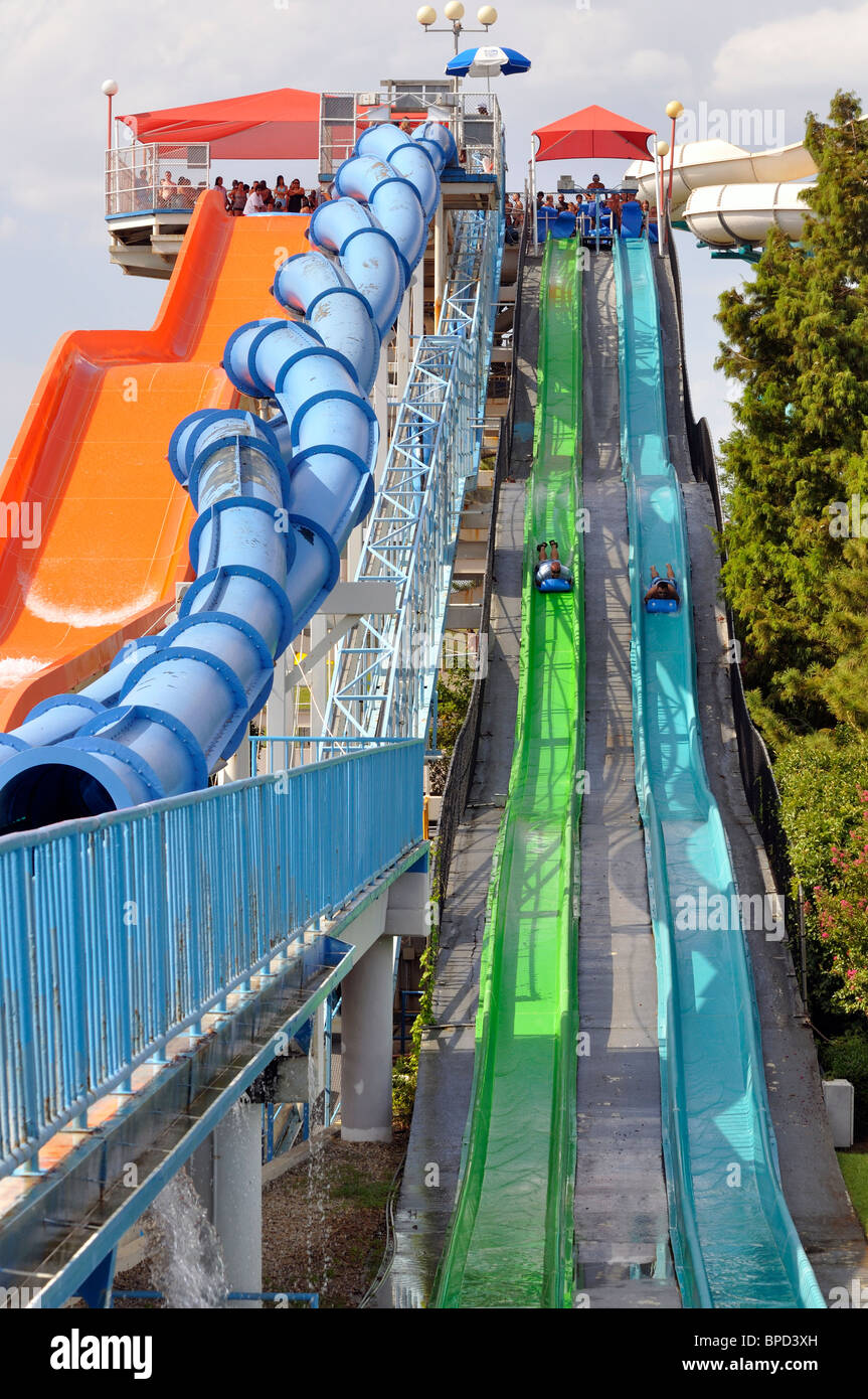 Water slide at Hurricane Harbor waterpark , Six Flags Over Texas