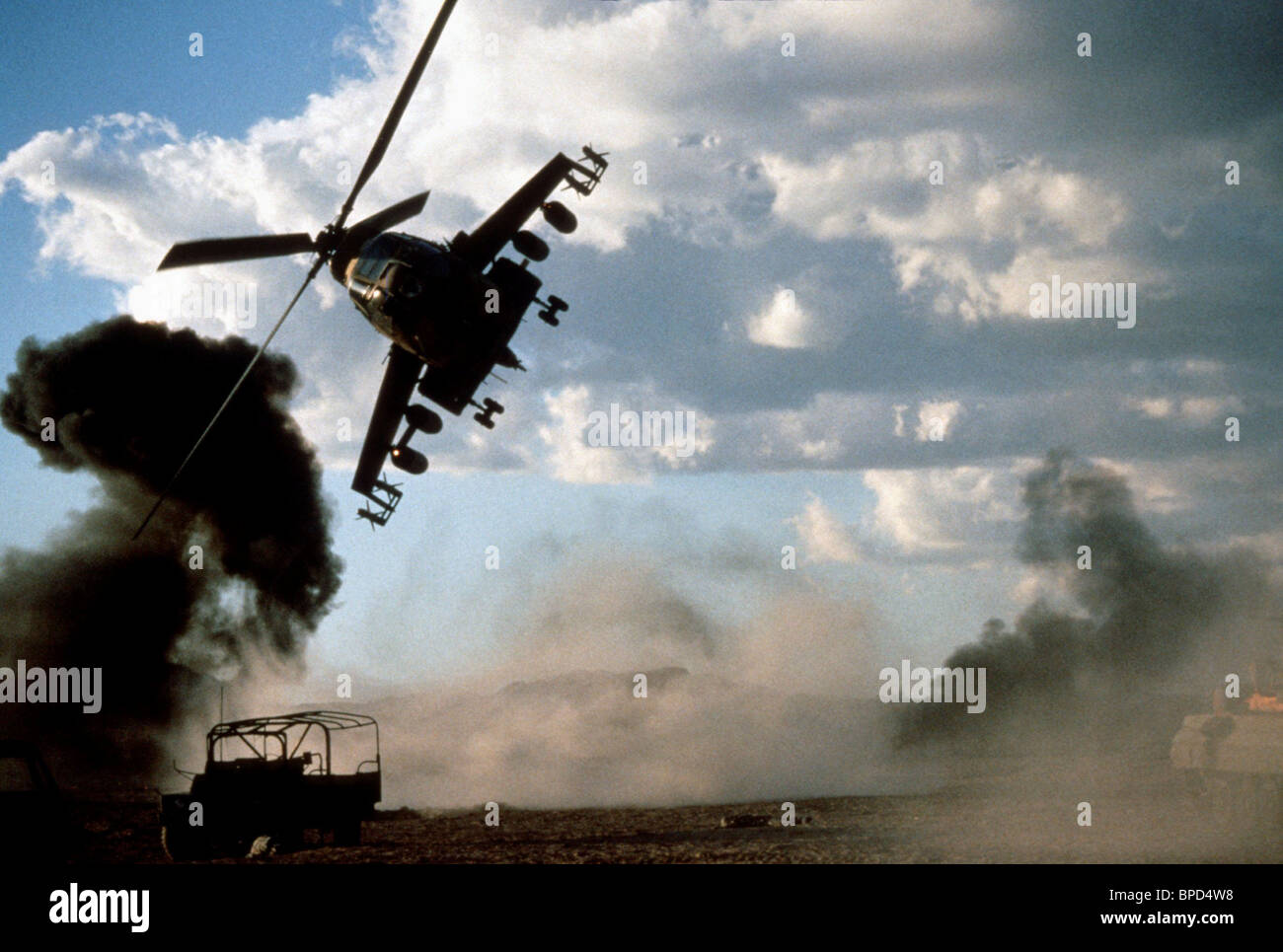 HELICOPTER ATTACK AFGHAN BASE RAMBO III (1988) - Stock Image