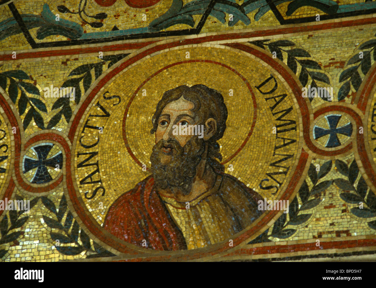 Palermo Sicily Italy The Palatine Chapel In The Norman Palace Mosaic Of Saint Damian Stock Photo
