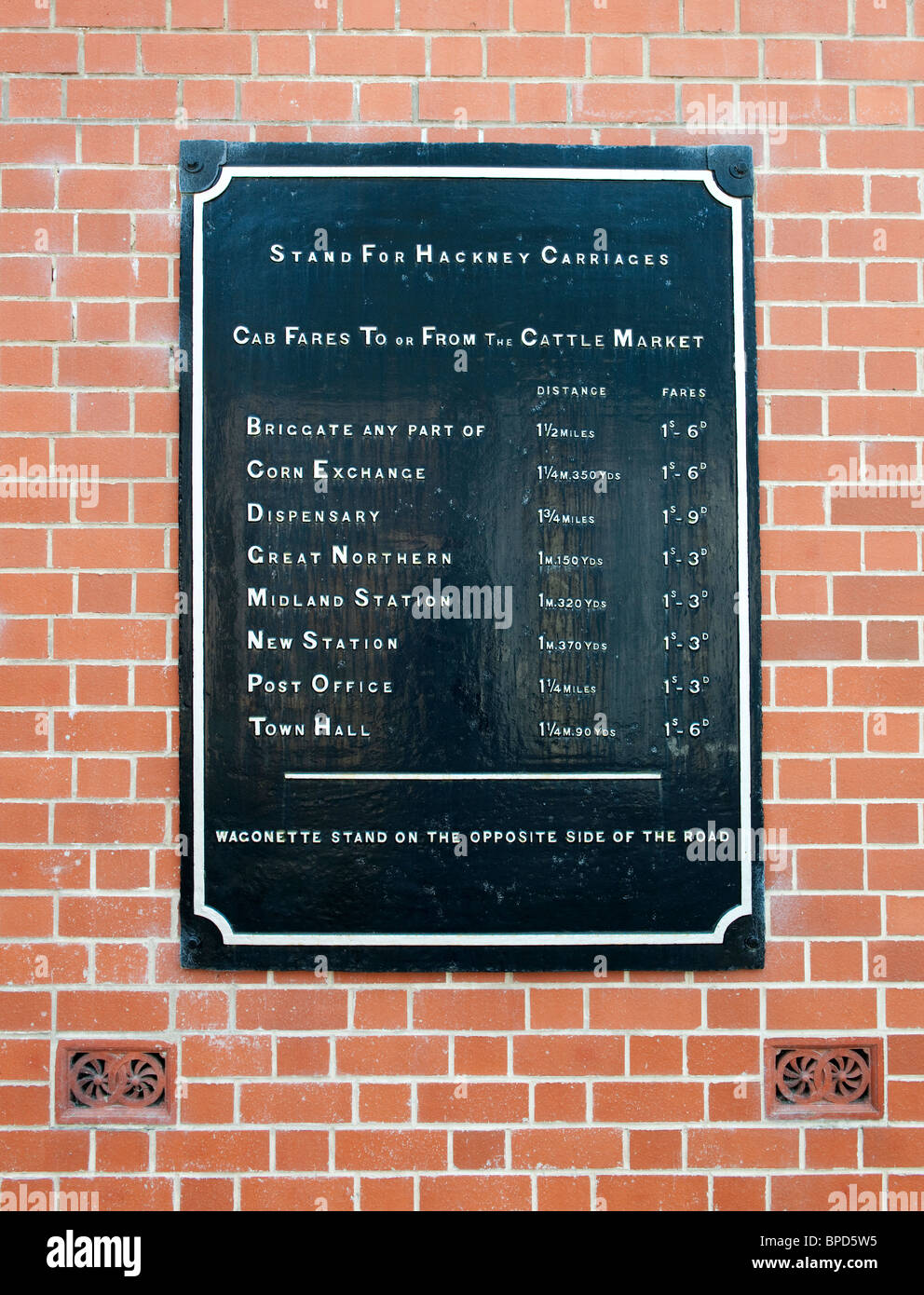 Old Hackney Carriage stand sign at the Blists Hill Victorian Town in Ironbridge, showing prices for local destinations - Stock Image