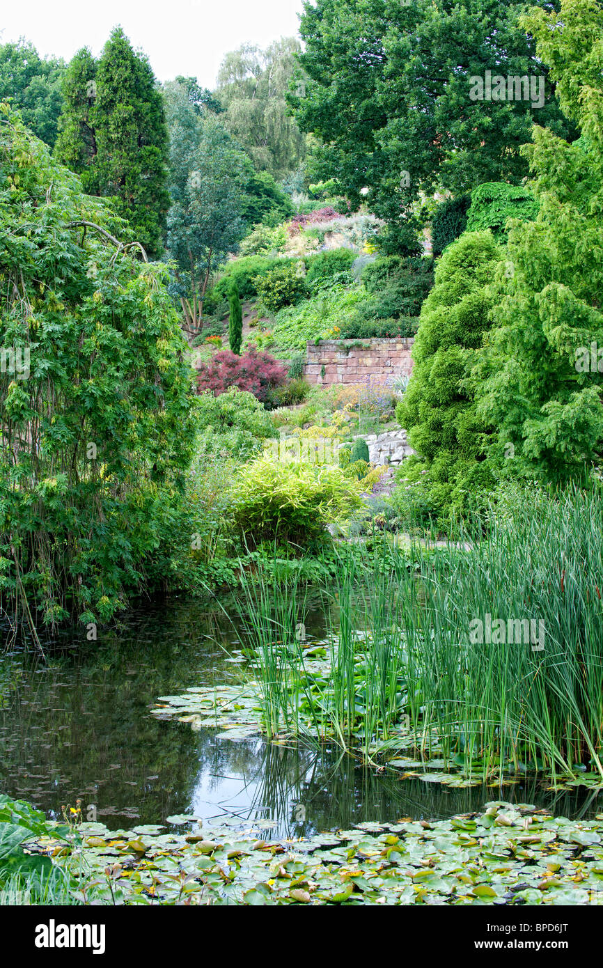 Attractive pond set in an ornamental garden in Ness Gardens on the Wirral - Stock Image