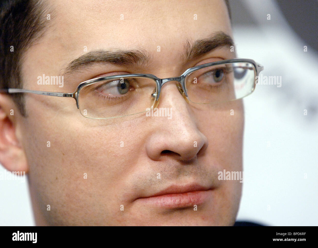 Gazprom spokesman Sergei Kupriyanov comments on situation with Russian natural gas transit via Belarus - Stock Image