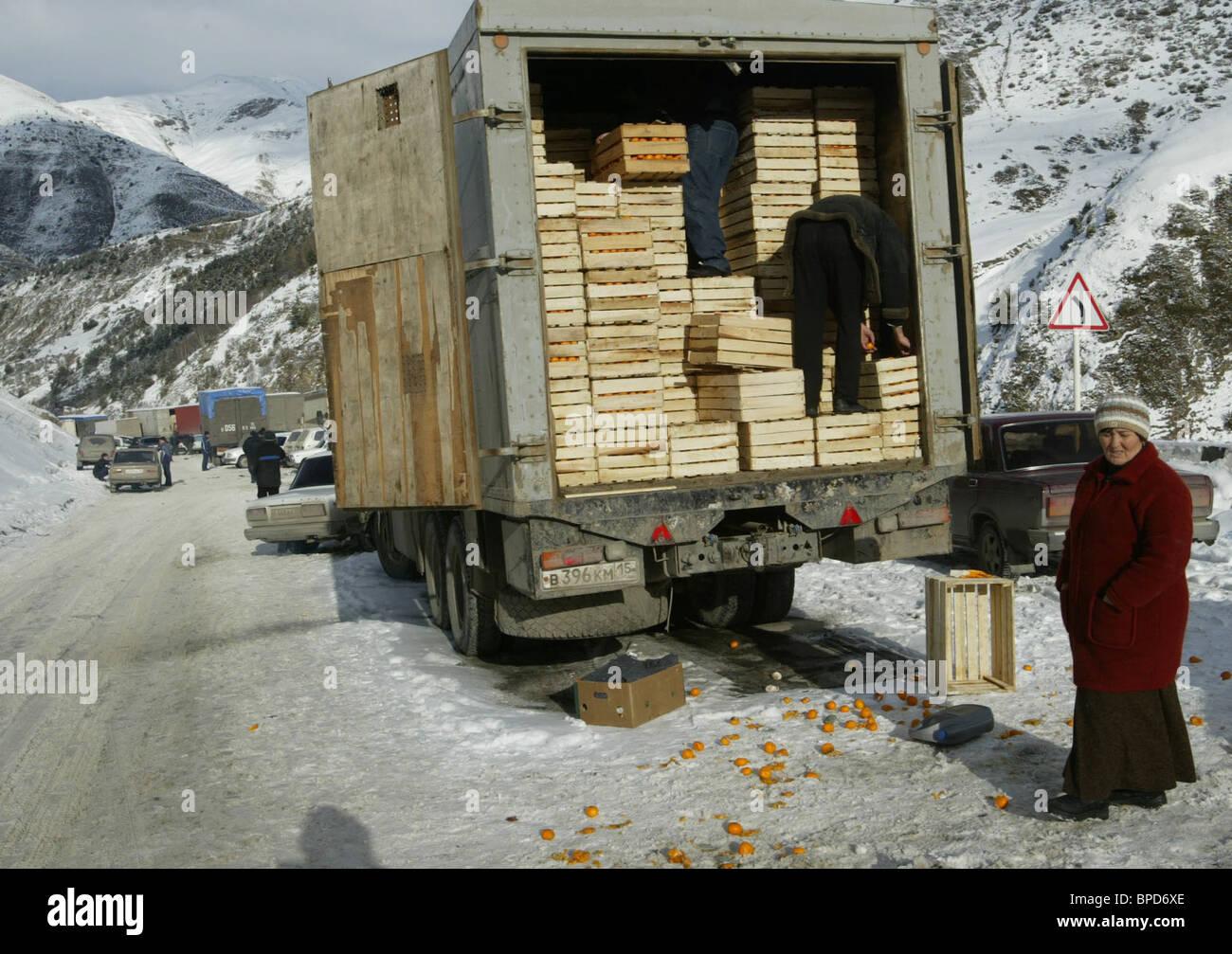 Situation on Trans-Caucasus motorway Stock Photo
