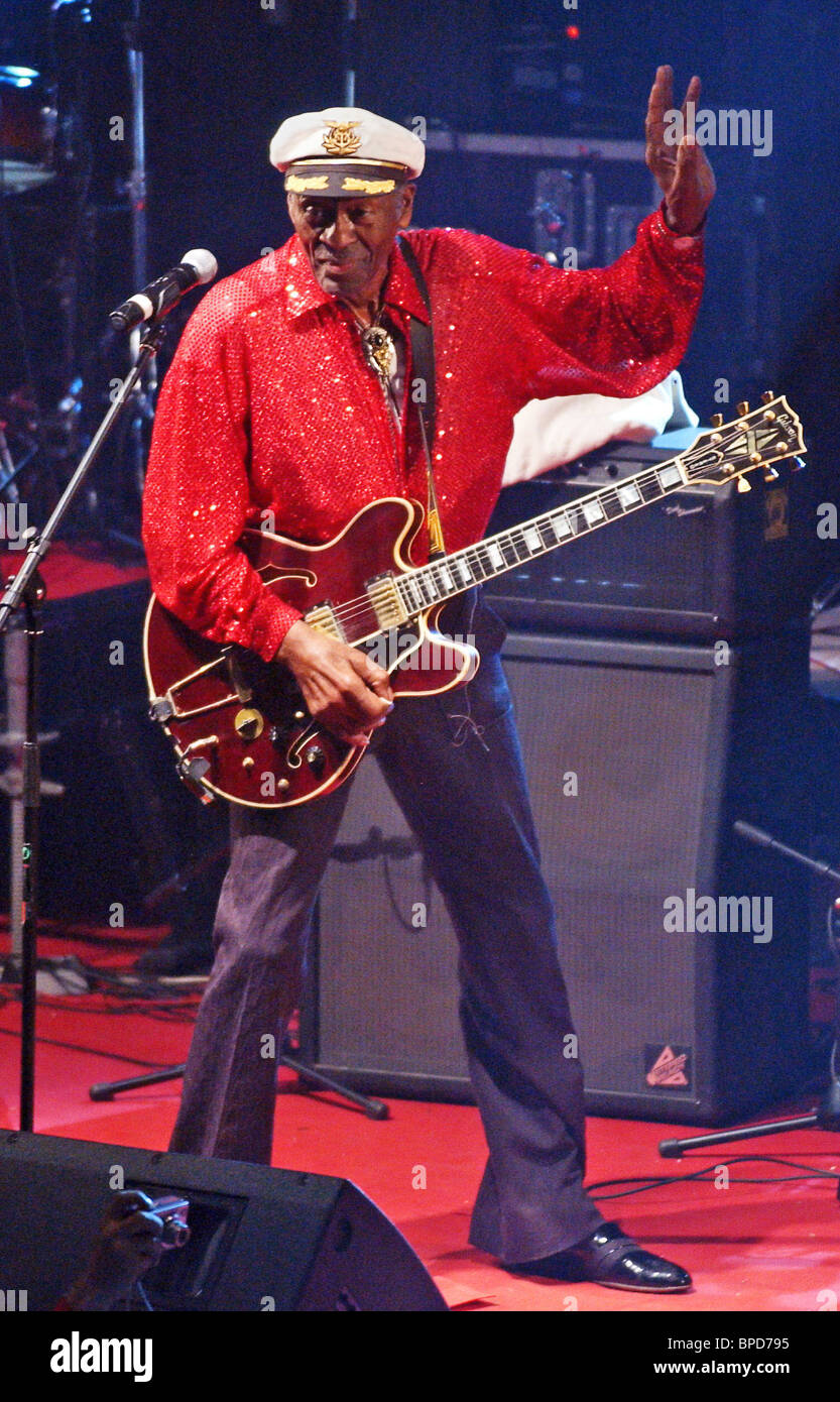 Rock'n'roll legend Chuck Berry performs in Moscow - Stock Image