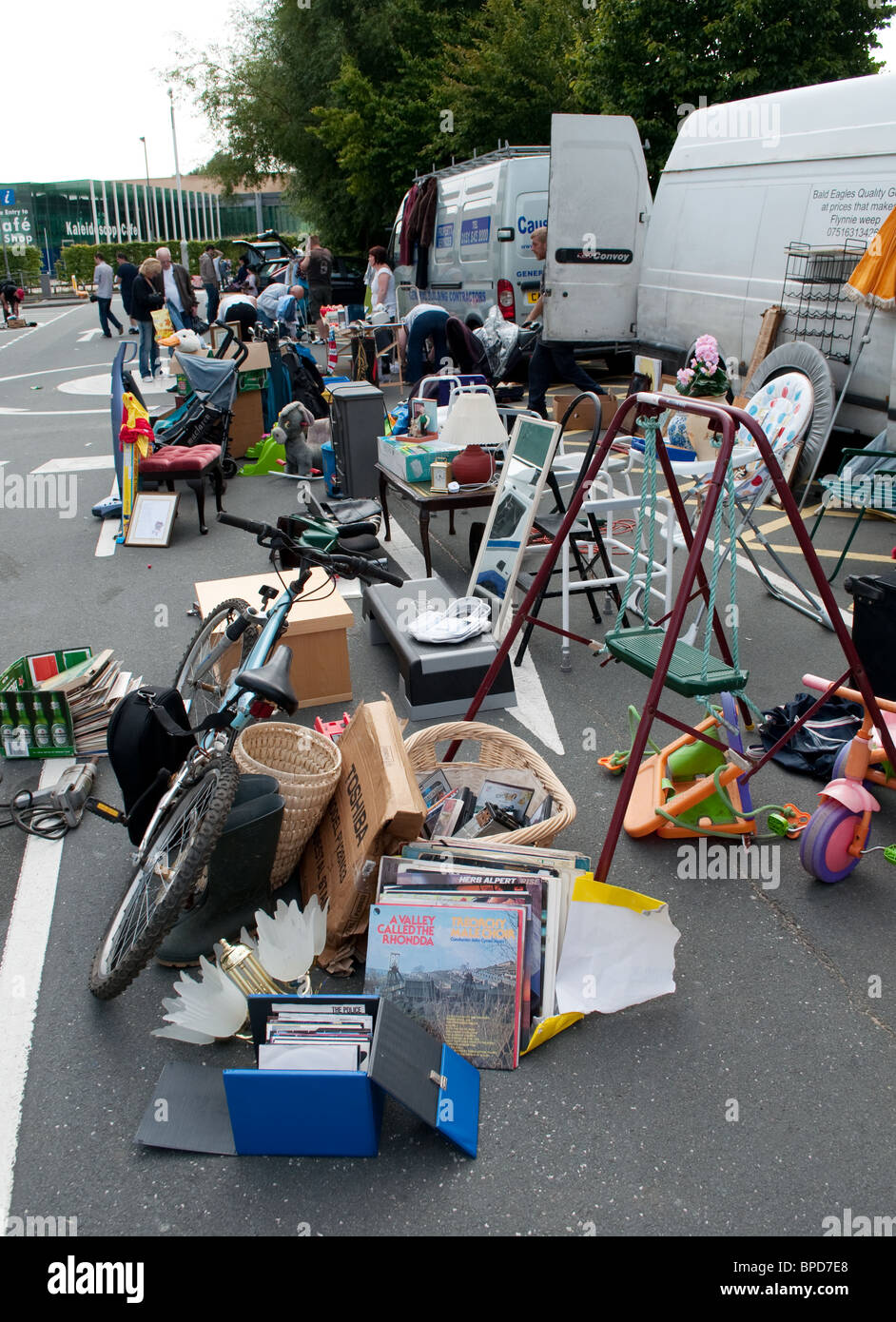 items for sale at a car boot sale in warrington, england, uk - Stock Image