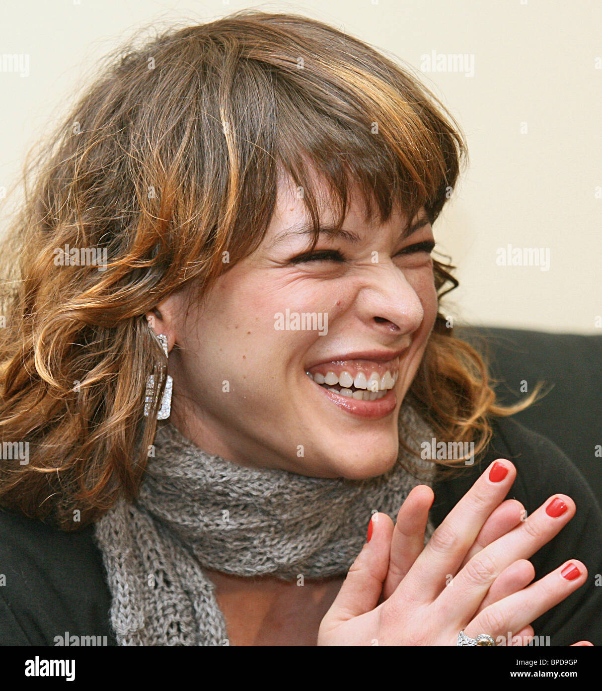 Hollywood actress Milla Jovovich arrives Moscow to promote new jewelry collection by Bvlgari - Stock Image