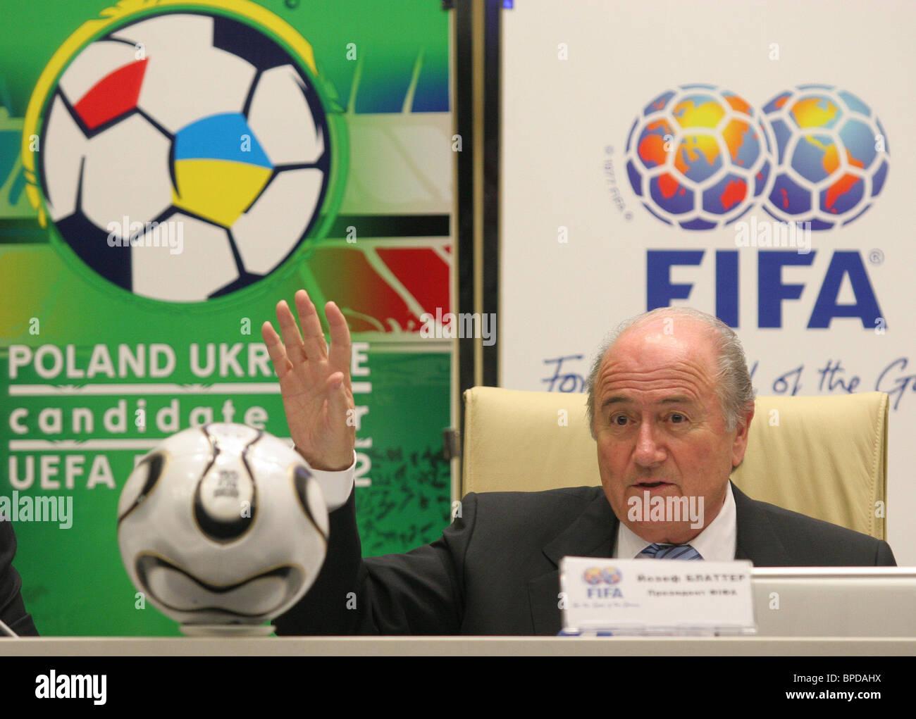 FIFA president Sepp Blatter visits Kiev - Stock Image