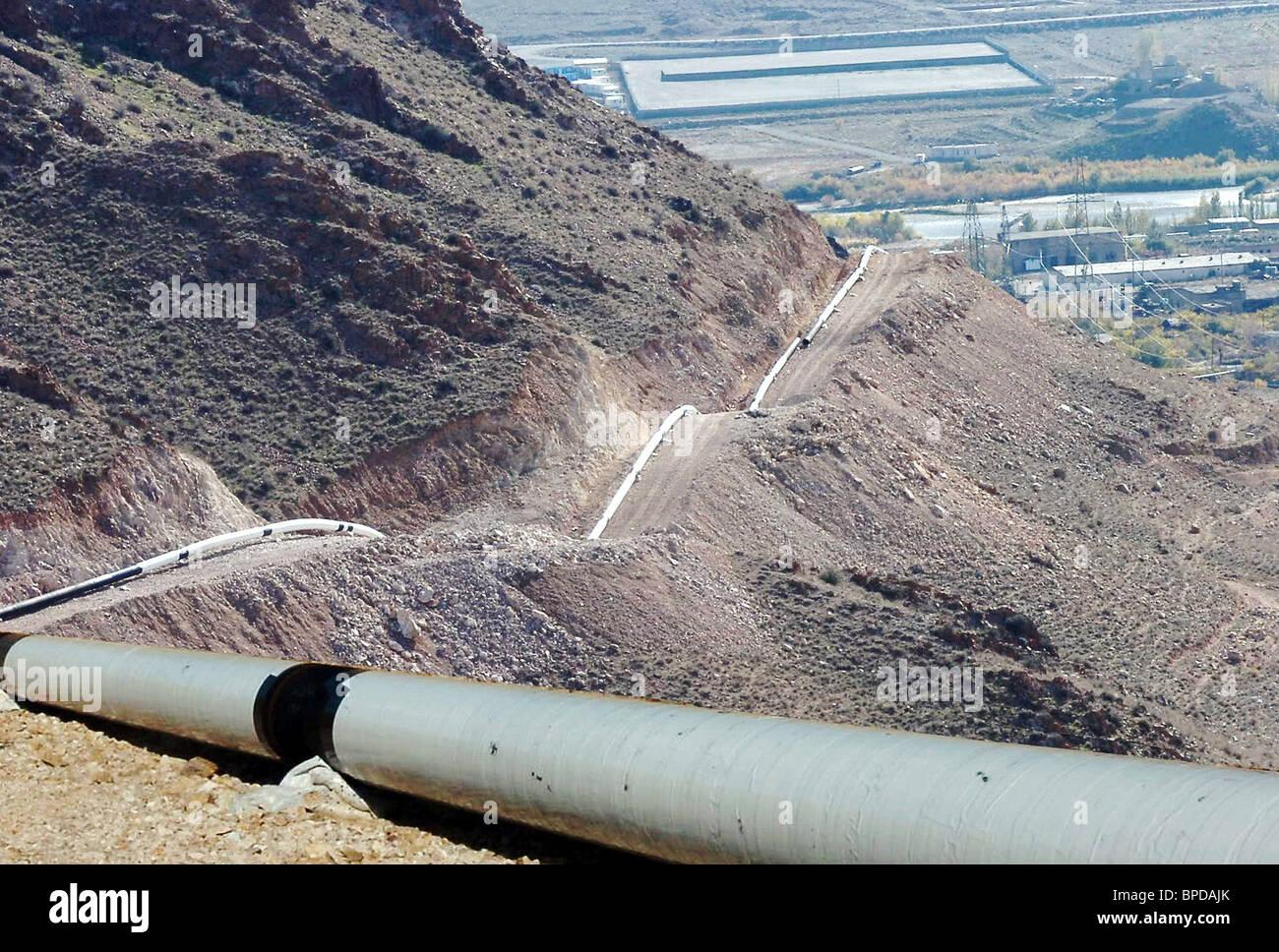 Iran-Armenia cross-border gas pipeline opens - Stock Image