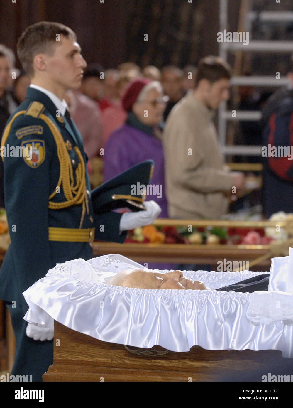 Russians pay last respects to first Russian President Boris Yeltsin - Stock Image
