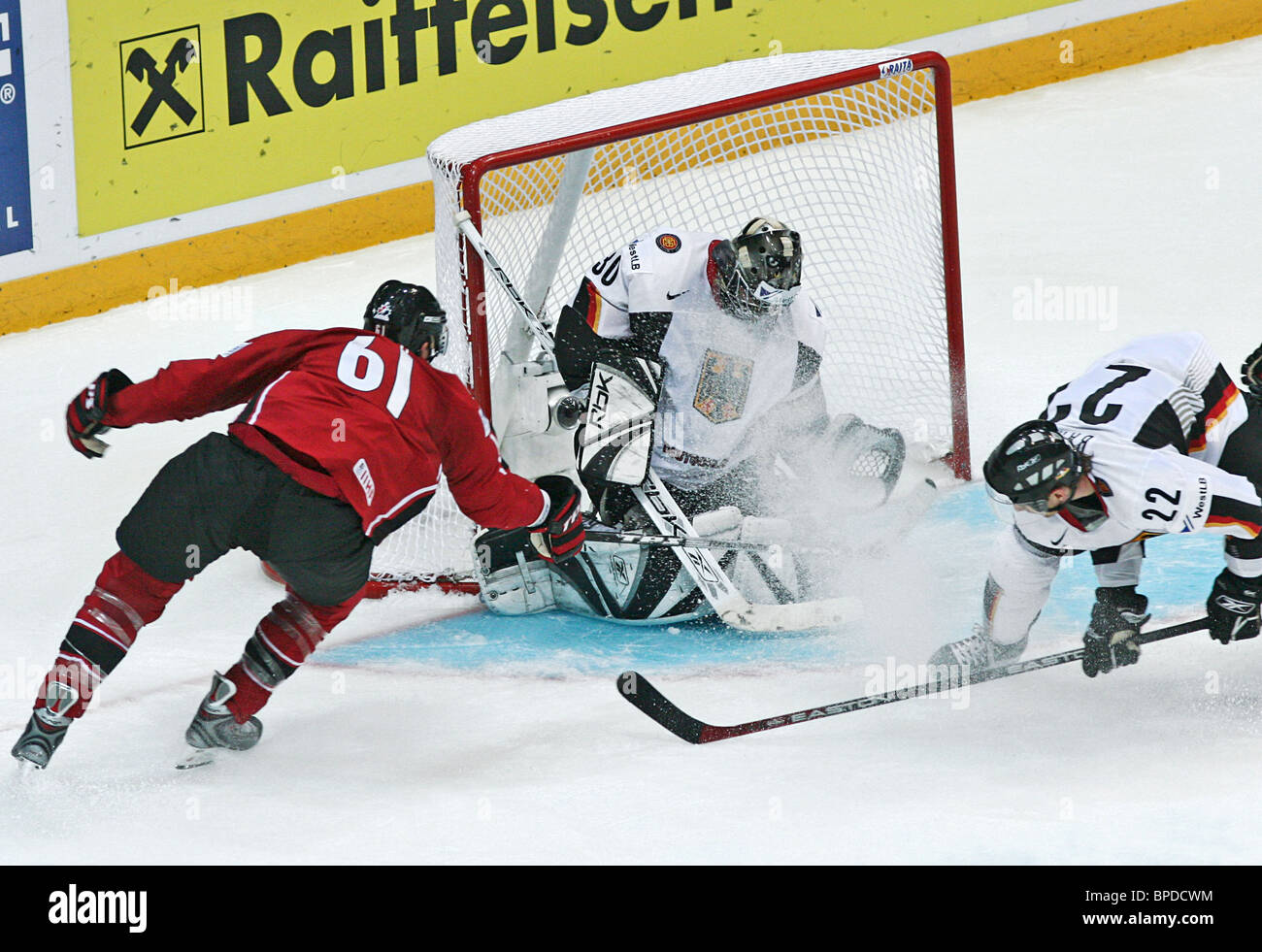 Canada starts hockey world championships with 3-2 win over Germany - Stock Image