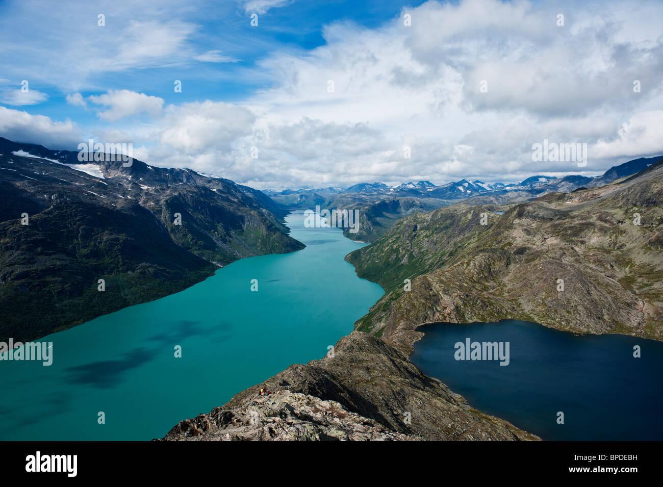Lake Gjende viewed from Besseggen ridge, Jotunheimen national park, Norway - Stock Image