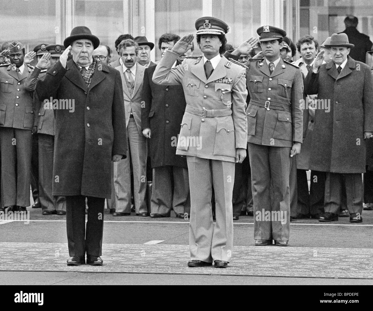 Leonid Brezhnev and Muammar al-Gaddafi, 1981 - Stock Image