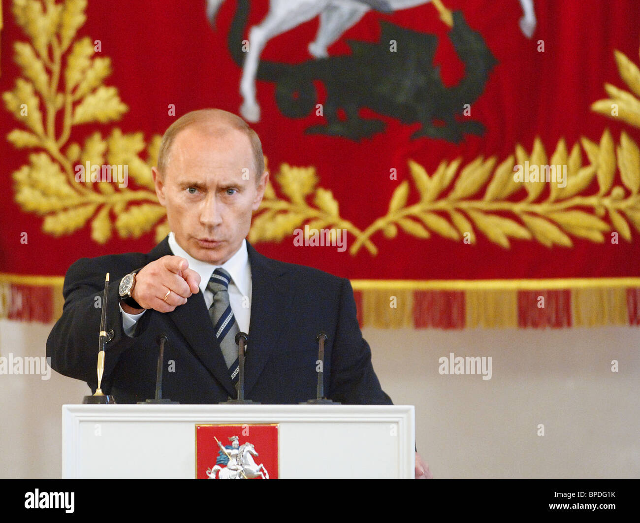 Russian President appears at inauguration ceremony of Moscow Mayor - Stock Image