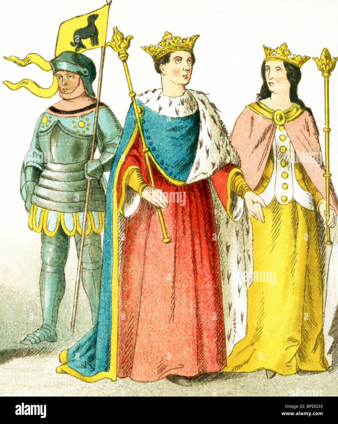 English people between A.D. 1400 and 1450: a knight, Henry VI (1445), and Margaret (his consort). - Stock Image