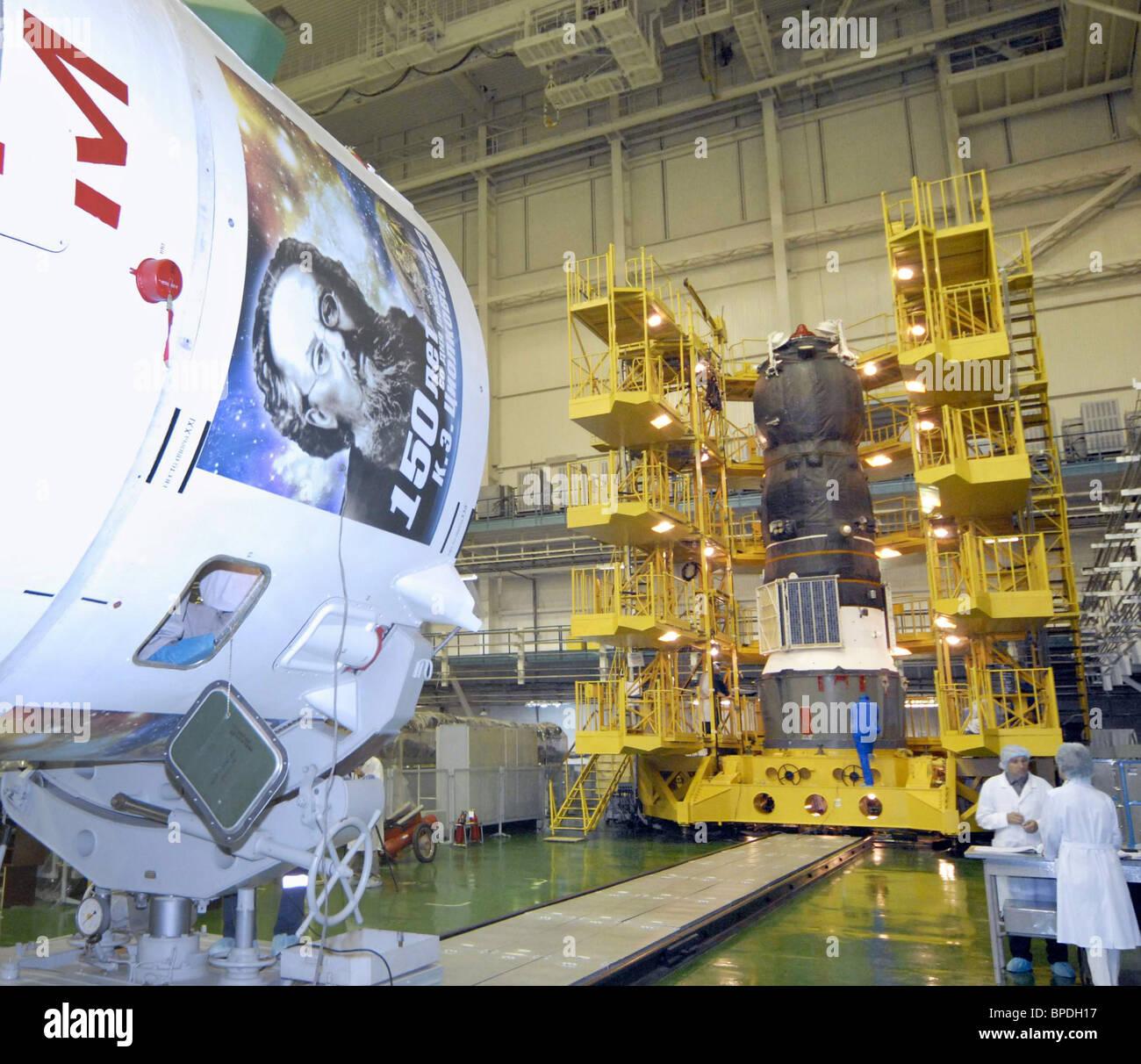 Soyuz-U booster rocket with Progress M-61 cargo spaceship blasts off from Baikonur Cosmodrome in Kazakhstan - Stock Image