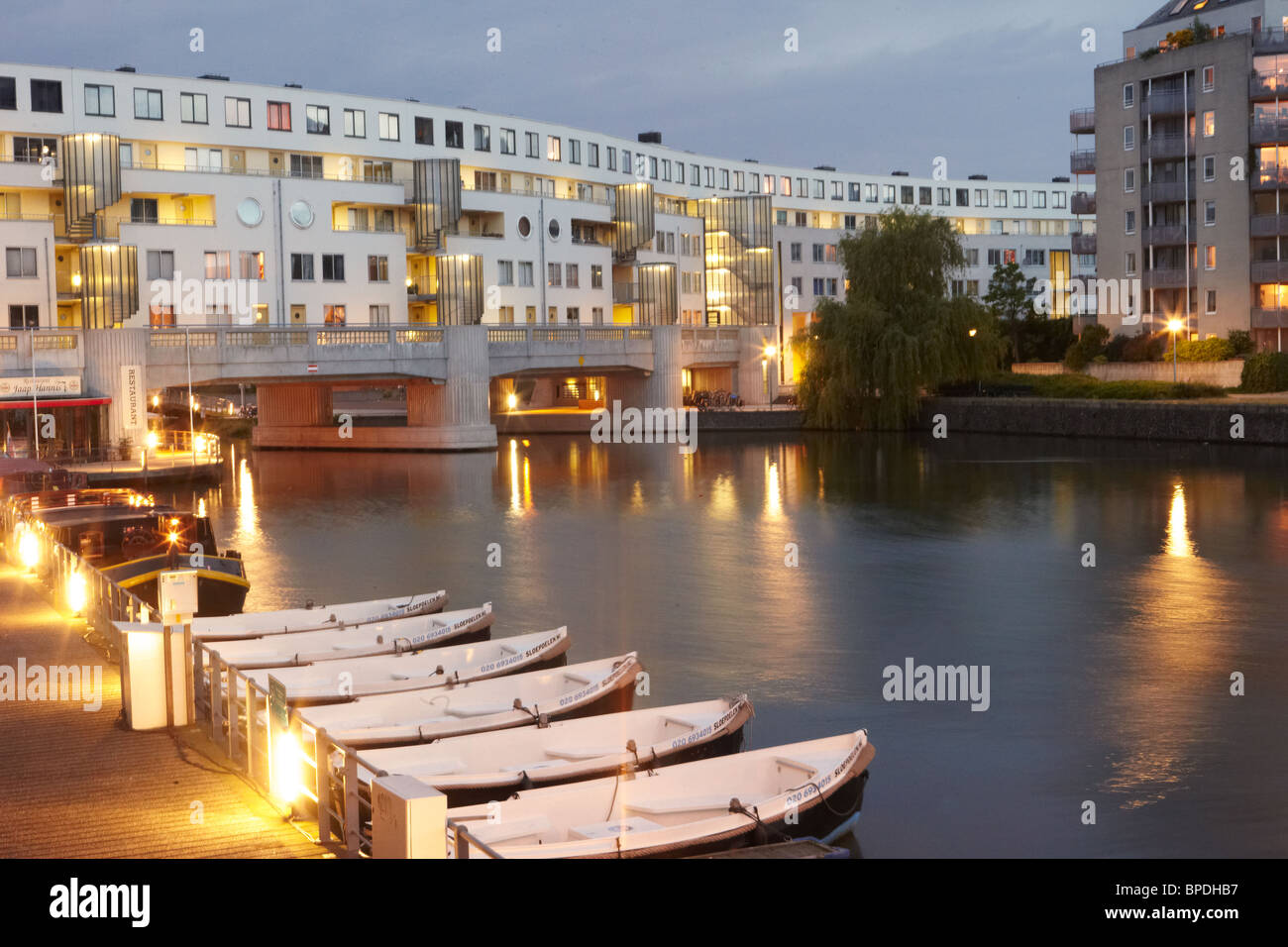 Eastern Docklands walk in Amsterdam - Stock Image