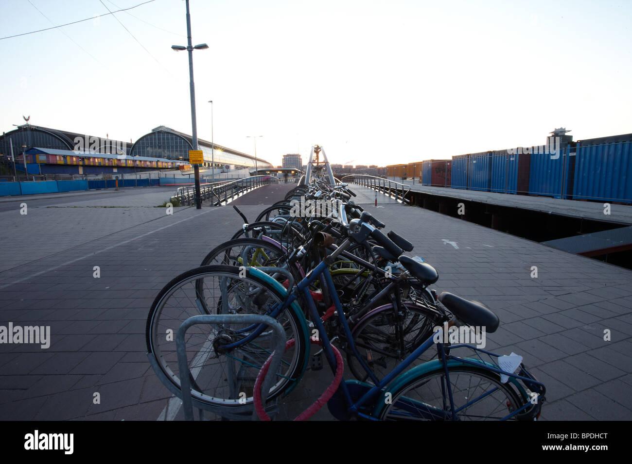 Eastern Docklands walk in Amsterdam Stock Photo