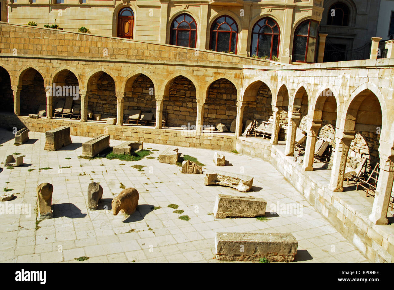 Baku, Azerbaijan, Vestige of the ancient market place in old inner Baku, with vaults and stone constructions - Stock Image