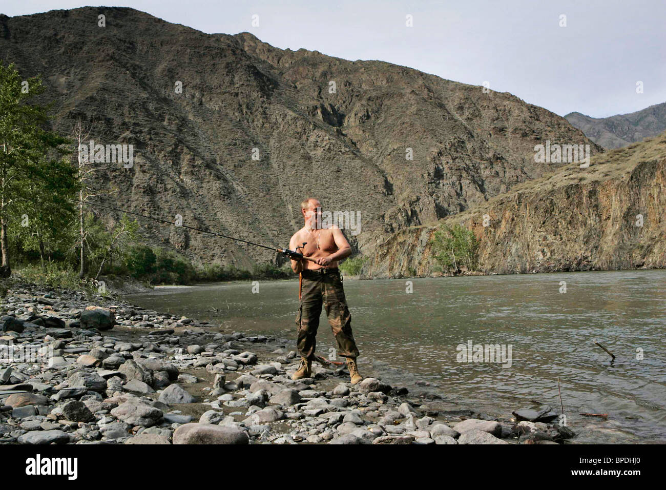 Russian President Vladimir Putin on vacation in the Republic of Tuva Stock Photo