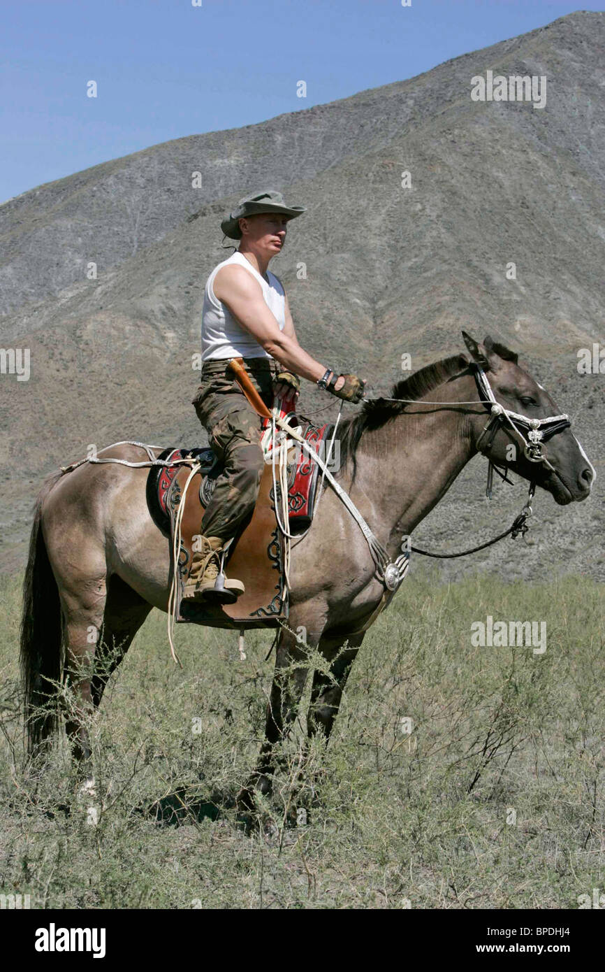 Russian President Vladimir Putin on vacation in the Republic of Tuva - Stock Image