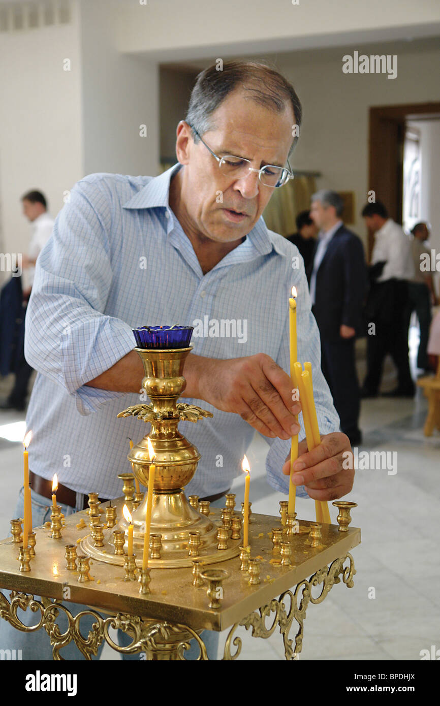 Russian Foreign Minister Sergei Lavrov in North Ossetia - Stock Image