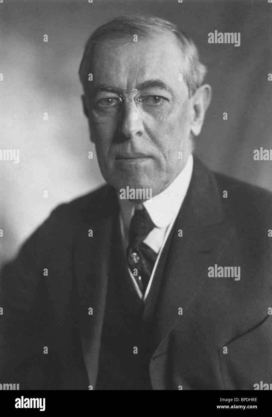 Portrait photo circa 1919 of Woodrow Wilson (1856 - 1924) - the 28th US President (1913 - 1921). - Stock Image