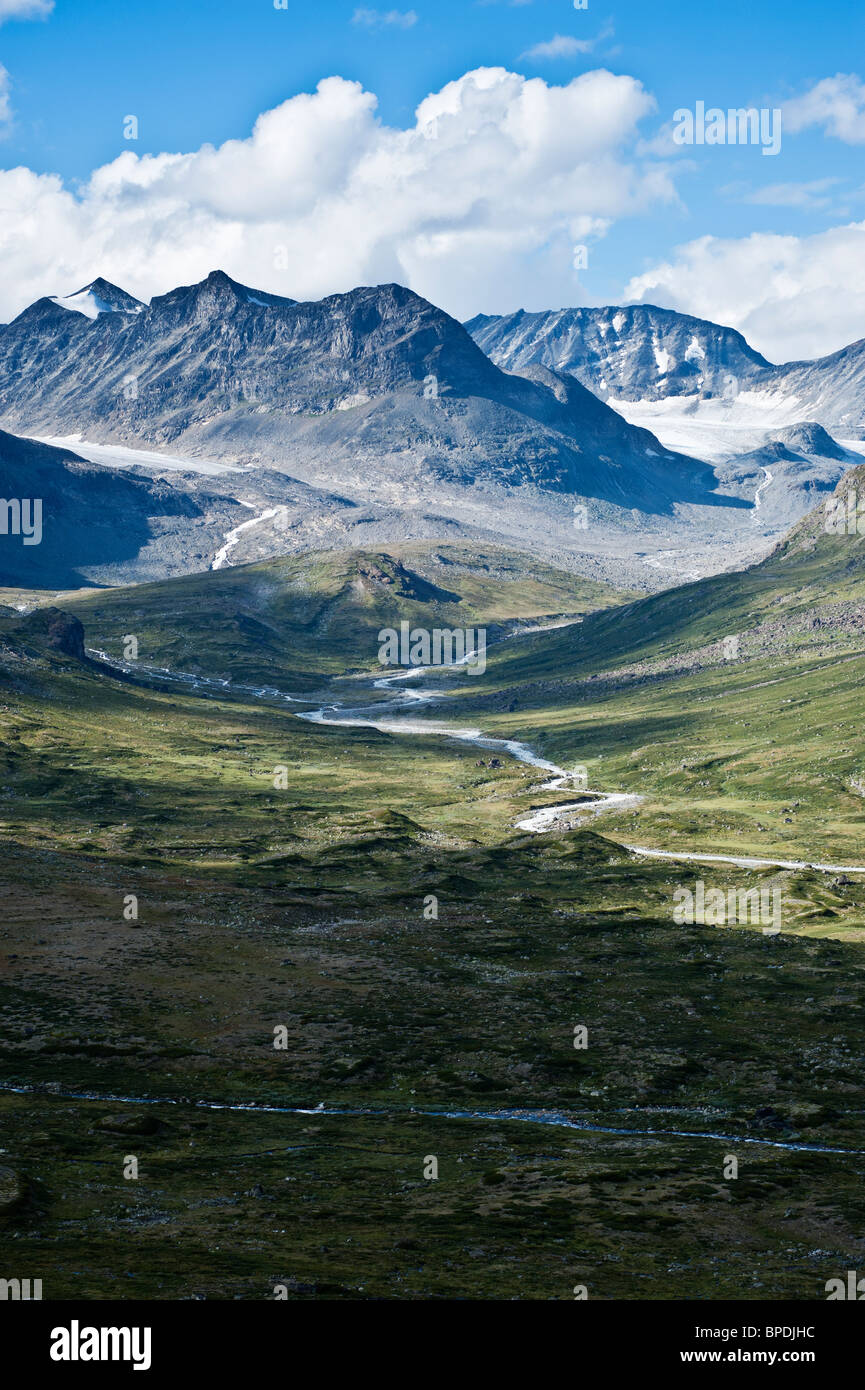 Memurudalen and mountains of Jotunheimen national park, Norway - Stock Image
