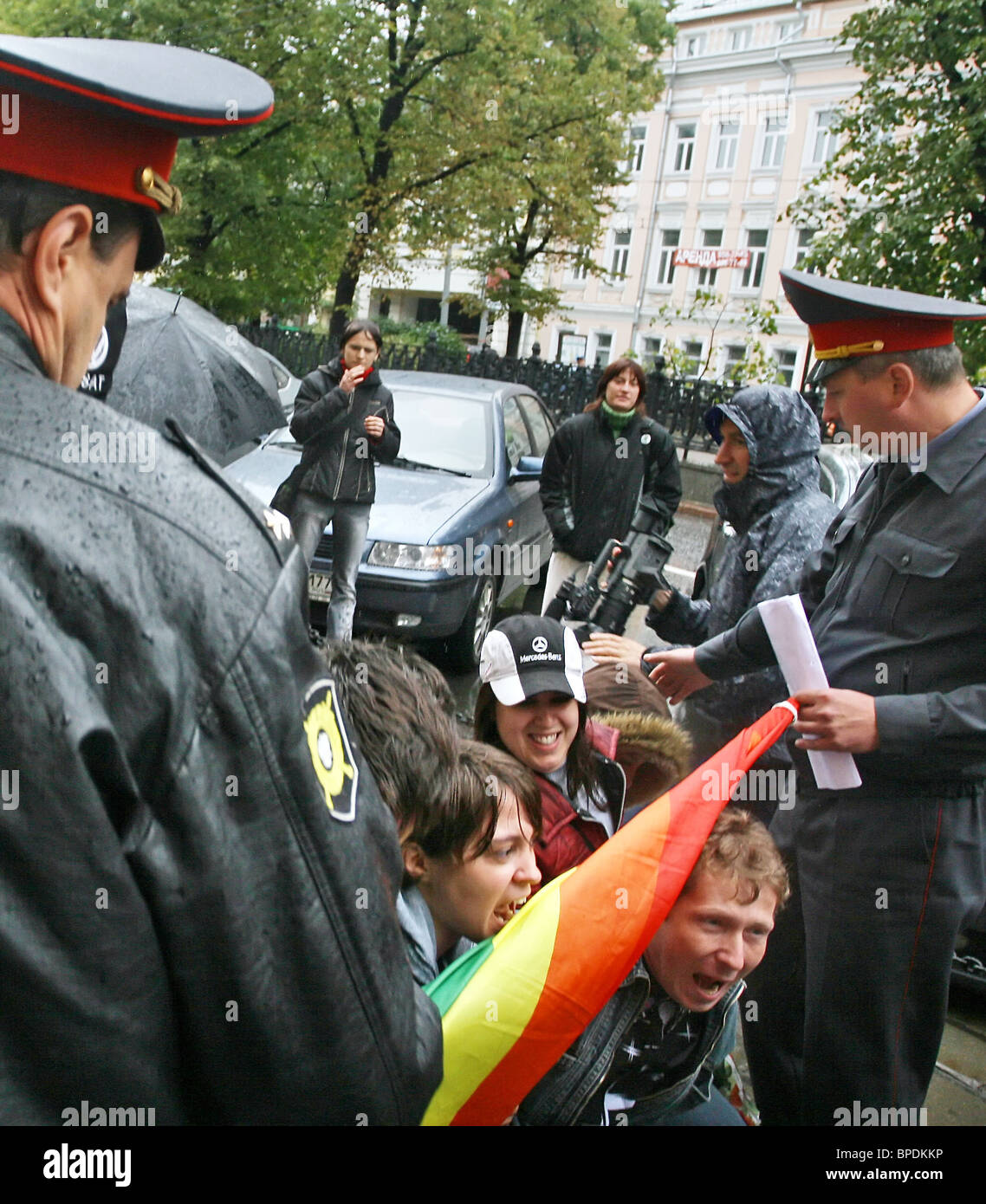 Gays protest against blood donation ban in Moscow - Stock Image