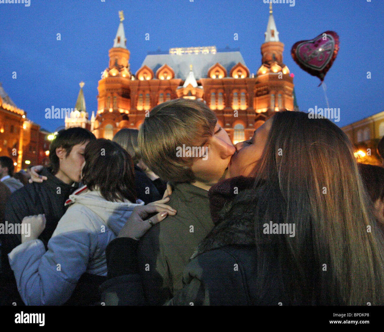 Moscow - kissing city event held in Russias capital Stock Photo