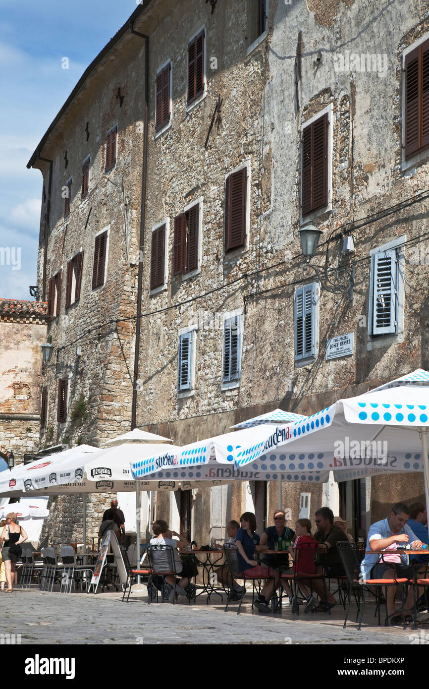 Cafes in Motovun Istria Croatia Stock Photo