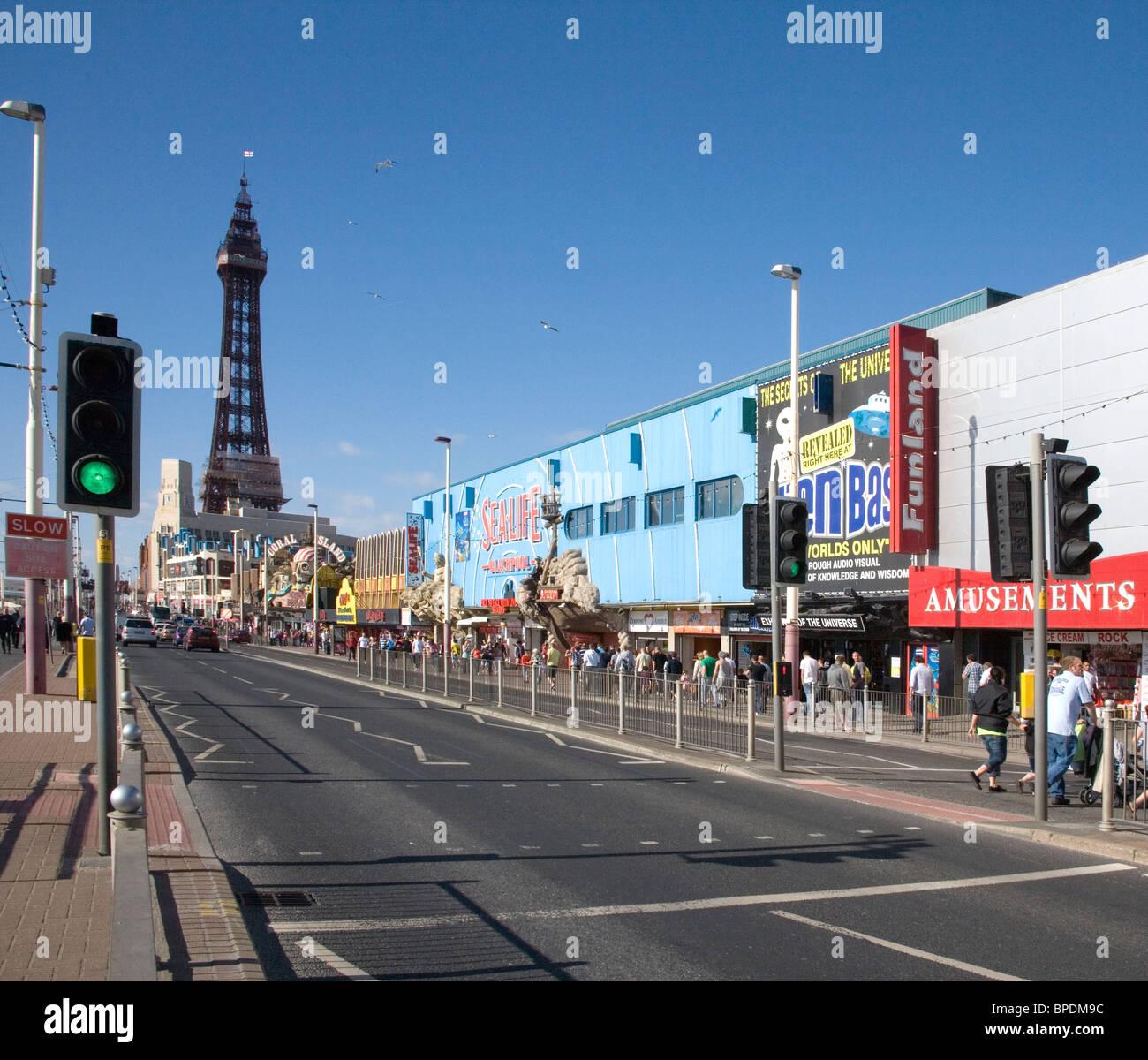 Blackpools Golden Mile on the lancashire coast - Stock Image