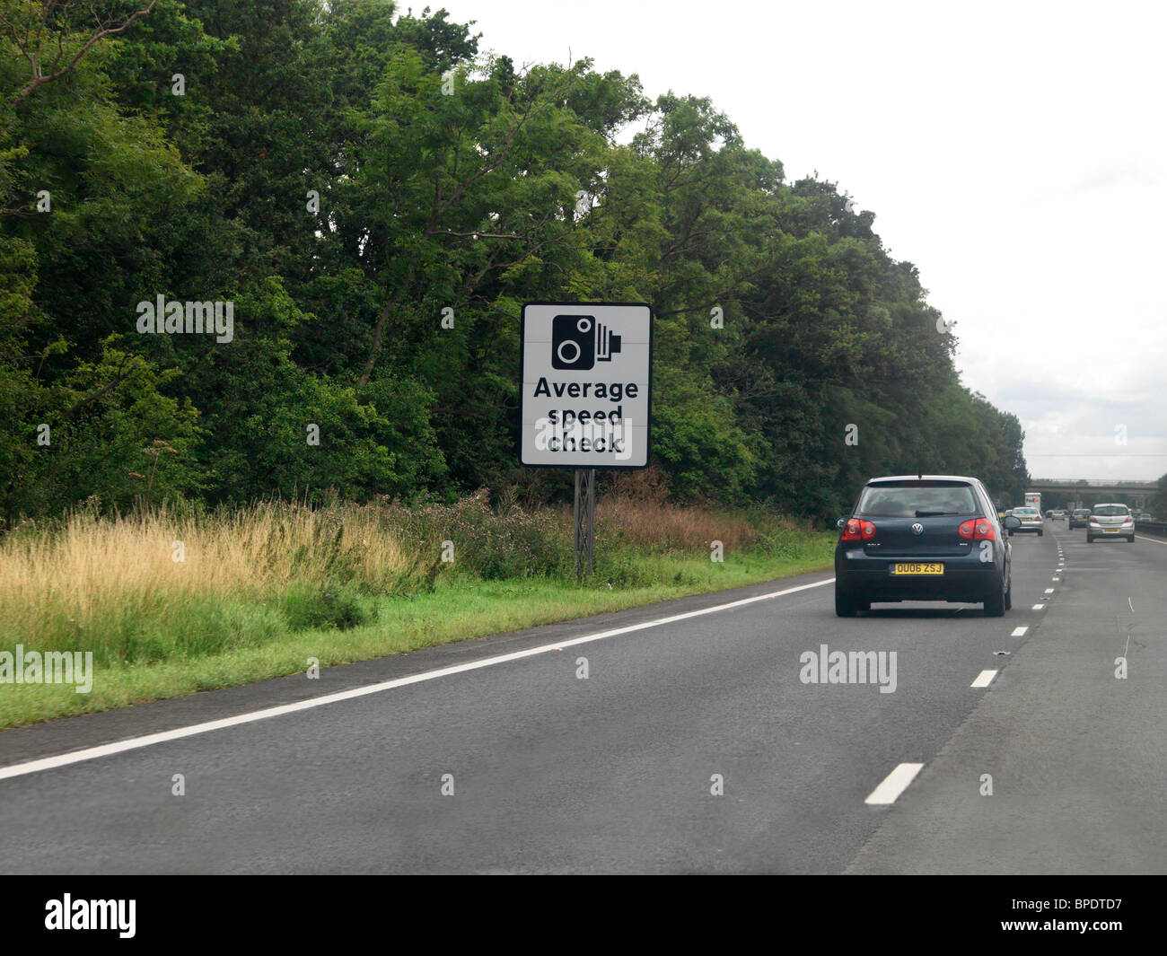 Sign For Average Speed Checking On Motorway England - Stock Image