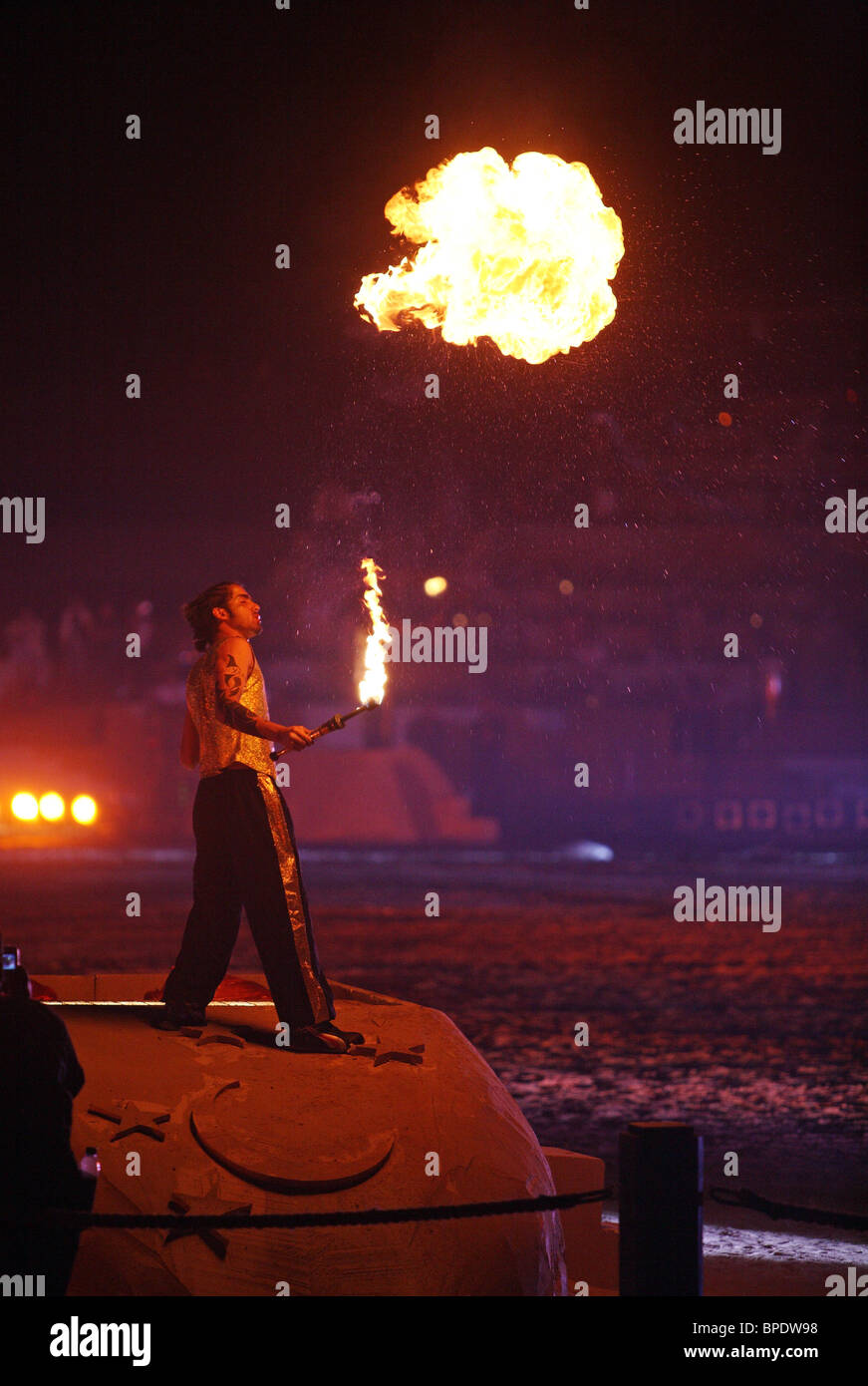 A fire-breather in action, Dubai, United Arab Emirates - Stock Image