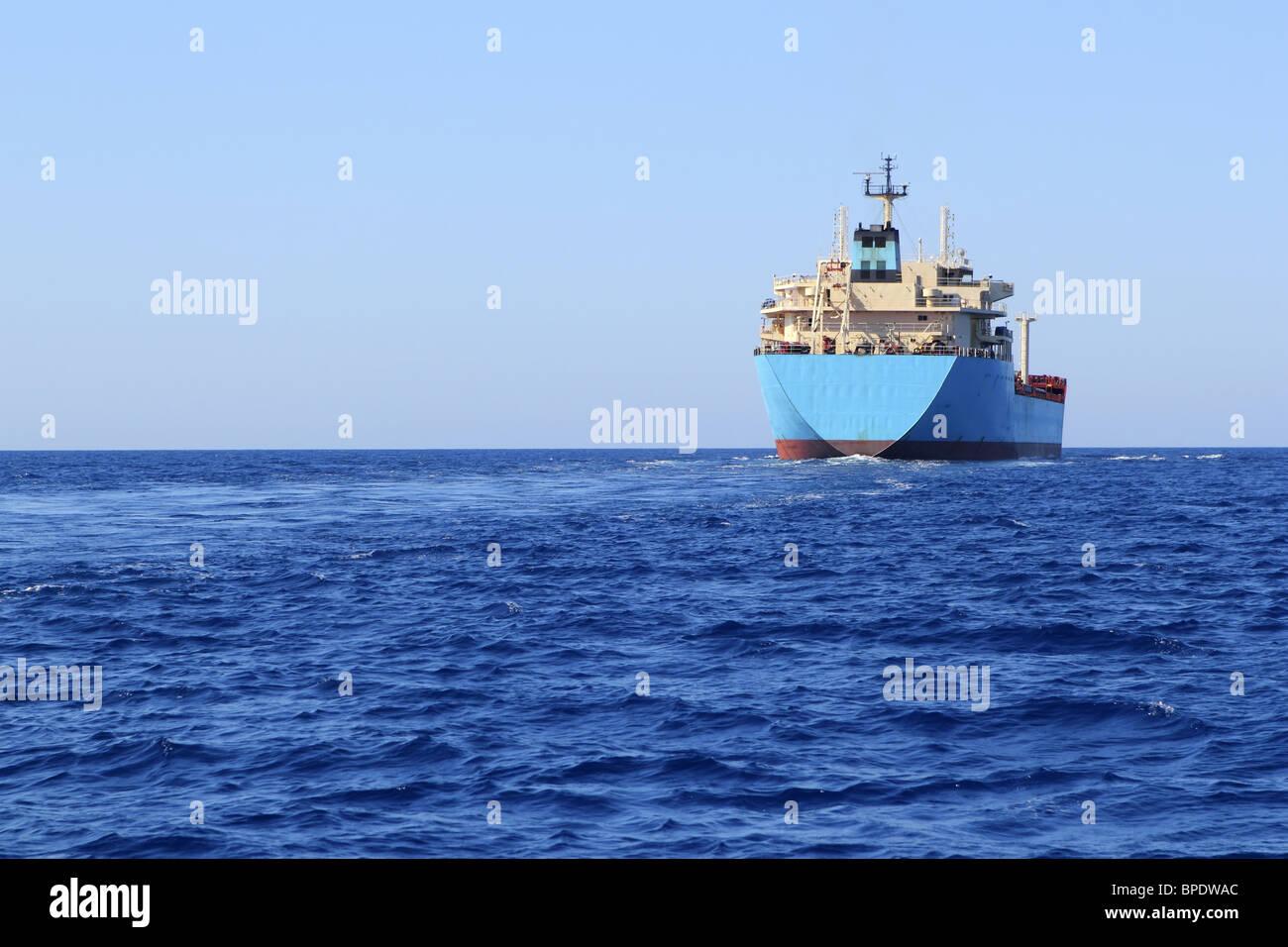 chemical transport boat offshore sailing tanker cargo blue ocean sea - Stock Image