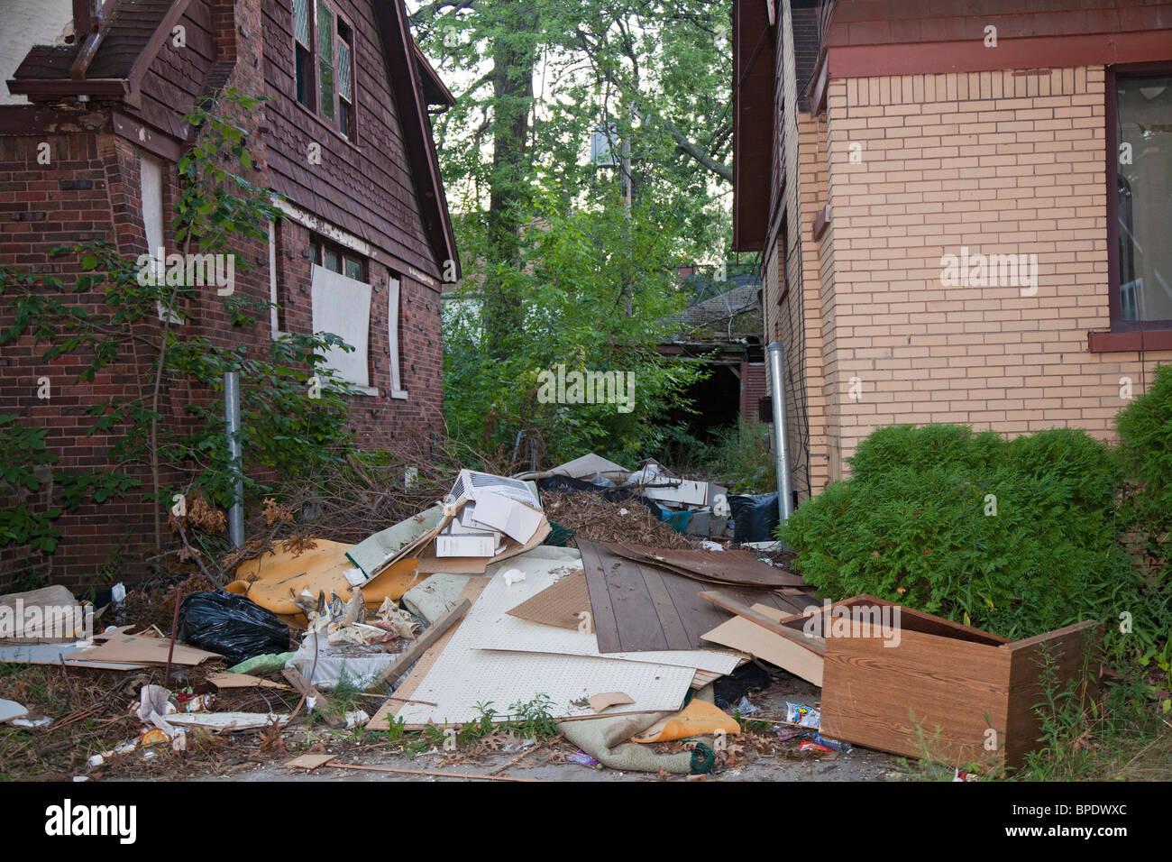 Illegally Dumped Trash in Detroit Neighborhood - Stock Image