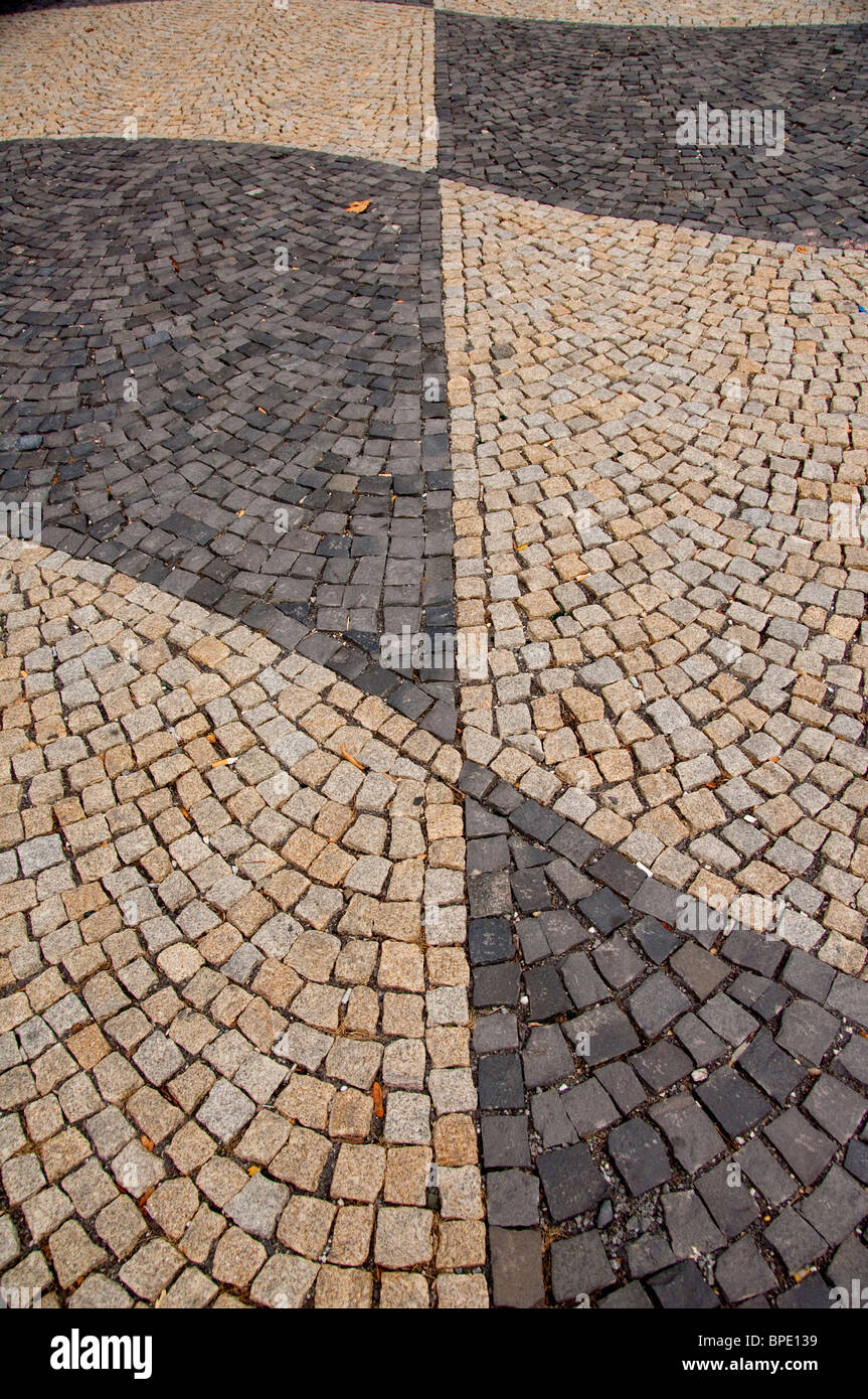 Slovakia, Bratislava. Downtown cobblestone pedestrain walkway in front of the National Theater, cobbelstone detail. - Stock Image