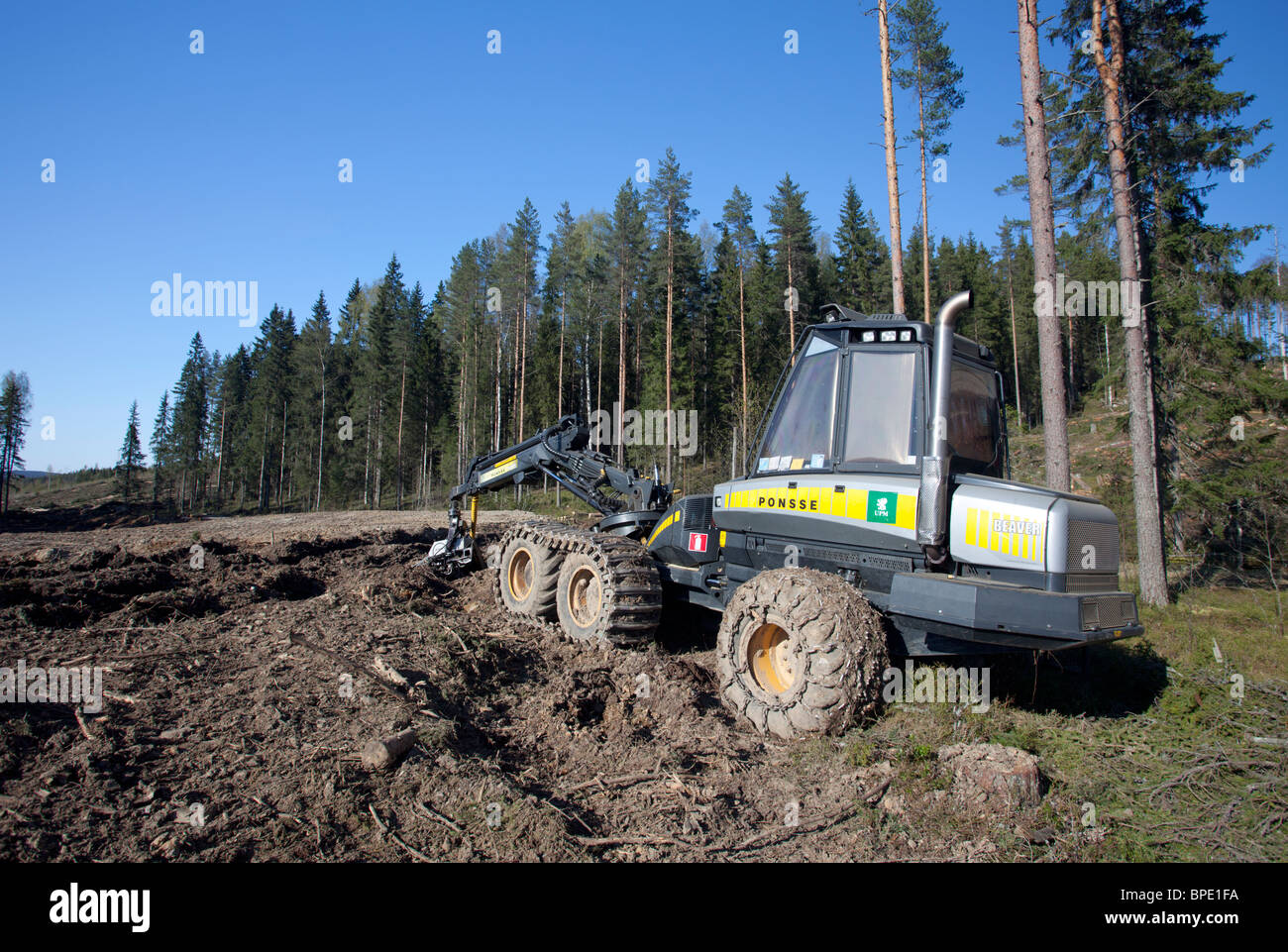 Ponsse Beaver forest harvester at clear-cutting area , Finland - Stock Image