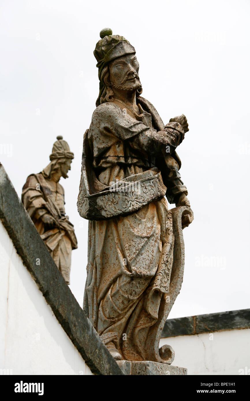 The statue of prophet Ezekiel by Aleijadinho at the Basilica do Bom Jesus de Matosinhos in Congonhas, Minas Gerais, - Stock Image