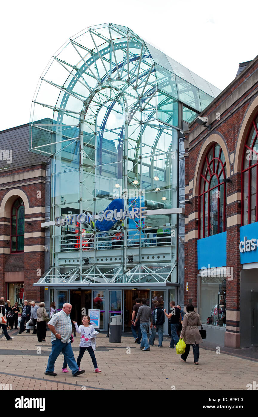 the entrance to Clayton square shopping mall, Liverpool, England, UK - Stock Image